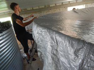 натяжная гибкая крыша модульной емкости для воды